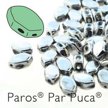 Paros Par Puca 2-hole hexagon shape 7x4mm Argentees  30 Czech Glass Beads