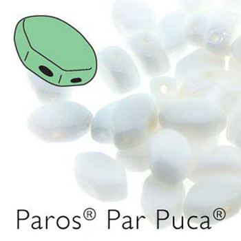 Paros Par Puca 2-hole hexagon shape 7x4mm Opaque White 30 Czech Glass Beads