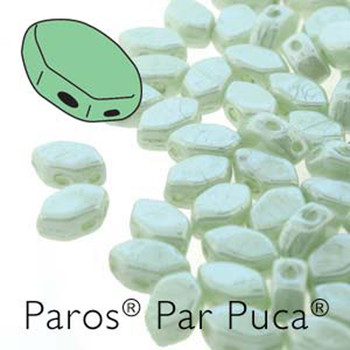 Paros Par Puca 2-hole hexagon shape 7x4mm Opaque Lt Green Luster 30 Czech Glass Beads