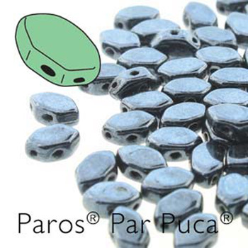 Paros Par Puca 2-hole hexagon shape 7x4mm Jet Hematite  30 Czech Glass Beads