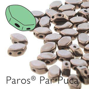Paros Par Puca 2-hole hexagon shape 7x4mm Dark Bronze  30 Czech Glass Beads