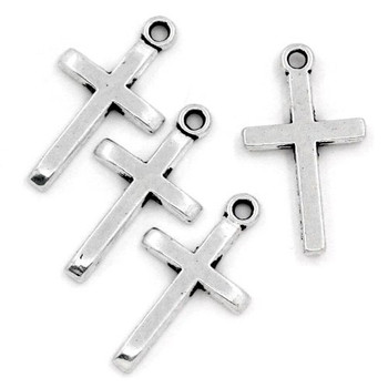 50 Pendant Beads Charms 1 Inch Cross Antique Silver Plated Zinc 1x4/8 Inch Rb25317
