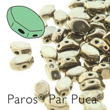 Paros Par Puca 2-hole hexagon shape 7x4mm Dark Gold Bronze  30 Czech Glass Beads
