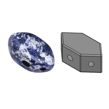 Paros Par Puca 2-hole hexagon shape 7x4mm Tweedy Blue 30 Czech Glass Beads