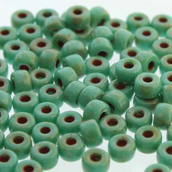 Matubo 2/0 6.1mm 2.1mm Hole Turquoise Green Dk Travertine 19 Grams Approx 90 Pony seed Beads Czech Glass