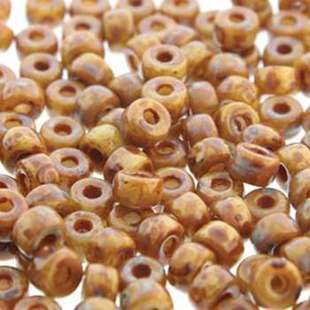 Matubo 2/0 6.1mm 2.1mm Hole Beige Dk Travertine 19 Grams Approx 90 Pony seed Beads Czech Glass