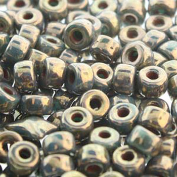 Matubo 2/0 6.1mm 2.1mm Hole Turquoise Green Bronze Luster 19 Grams Approx 90 Pony seed Beads Czech Glass