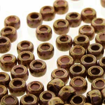 Matubo 2/0 6.1mm 2.1mm Hole Chalk Bronze Luster 19 Grams Approx 90 Pony seed Beads Czech Glass