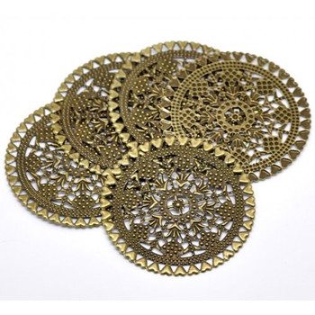 38 Antique Brass Filigree Flowers Hearts Focal Components 60mm 2 3/4 Inch Rb18534