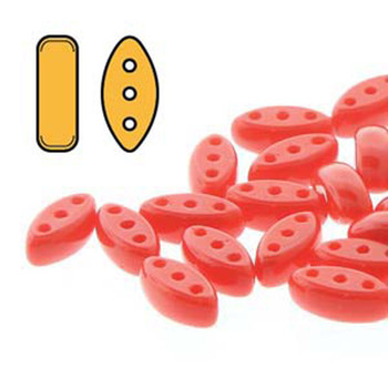 Cali 3 Hole Czech Glass Beads 3X8Mm Red Opaque  Aprox 9 Grams 50-55 Beads