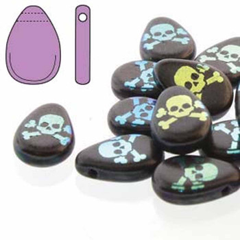Teardrop 9x11mm Jet Laser Skull and cross 30 Beads