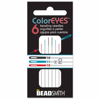 Colored Eye Beading Asst Color 6 needles 2 each size 10 11 & 12