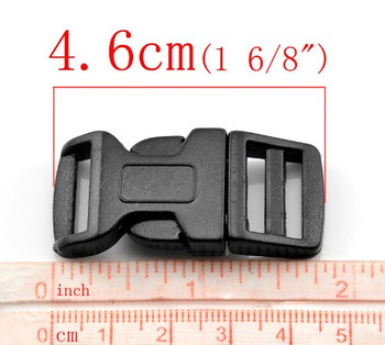 "50 Sets Black (for 550 Para Cord Survival Bracelet) Plastic Buckle (1 6/8""x7/8""), Jewelry Findings"