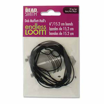 Endless Loom Elastic Stretch Bands 6 Inch Black Bag Of 12