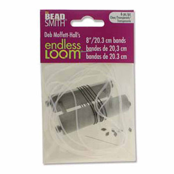 Endless Loom Elastic Stretch Bands 8 Inch Clear Bag Of 6