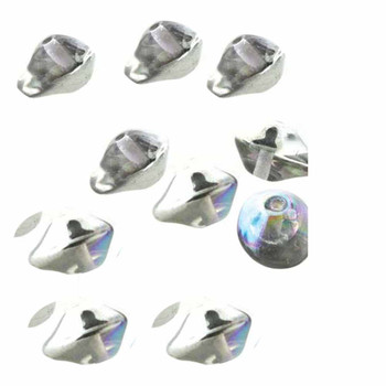 7X11mm Czech Glass Beads Ufo Cry Silver Rainbow  20 Beads per loose strand