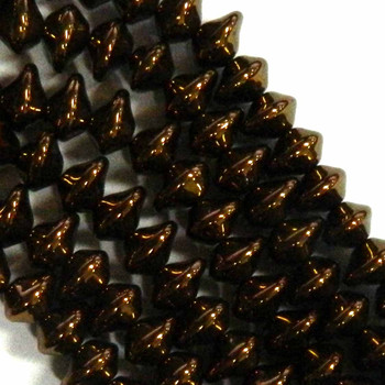 7X11mm Czech Glass Beads Ufo Jet Dark Bronze 20 Beads per loose strand