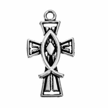 1 inch Cross with Christian Fish Charm Bead