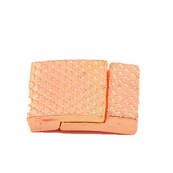 Brass Magnetic Clasps Rectangle Rose Gold, 26x21x5mm, Hole: 3x18mm 1pc