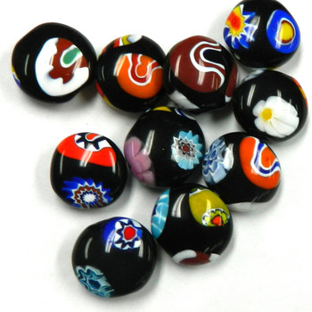 3pc Milfori Painted Glass Barrel Beads 23mm Randum Puffed coin Limited Quanity