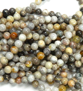 8mm Bamboo Agate African Round Beads Gemstone Beads 15 Inch