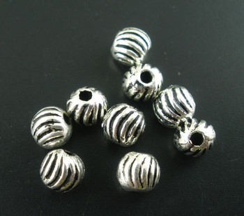200 Antique Silver Zinc Metal Stripe CarvedBeads 4mm with Hole  1.2mm, 200 PCs