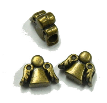 3 Antique Brass Angel Charm Beads 10x12mm with 2mm Hole