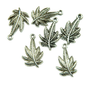 6 Antique Silver Metal Leafs Charm Beads 20x14mm with 1.5mm Hole