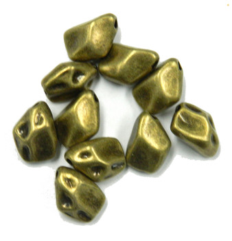 10 Antique Brass Metal Nuget Rock Beads 12x14mm with 1.2mm Hole