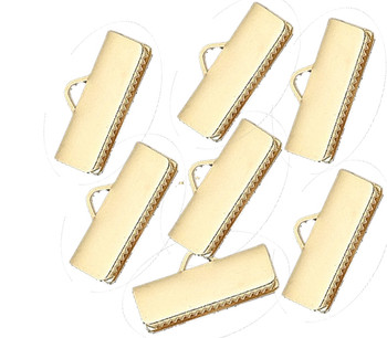 10 Ribbon crimp end, gold-plated brass, 16x5mm smooth rectangle.