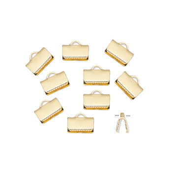 10 Ribbon crimp end, gold-plated brass, 10x5mm smooth rectangle.