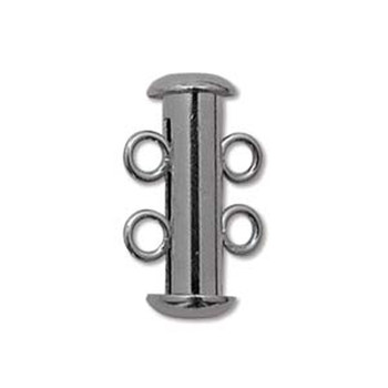 1 Clasp Multi 2 Strand Slide Lock Clasps Black Oxide Gunmetal Plated Brass Clsp03Bo