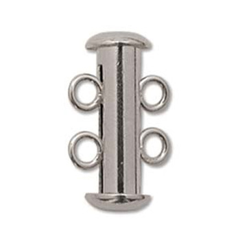 1 Clasp Multi 2 Strand Slide Lock Clasps Silver Plated Brass Clsp03Sp