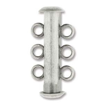 1 Clasp Multi 3 Strand Slide Lock Clasps 21mm Antique Silver Plated