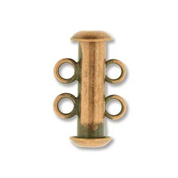 1 Clasp Multi 2 Strand Slide Lock Clasps 16mm Antique Copper Plated
