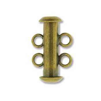 1 Clasp Multi 2 Strand Slide Lock Clasps 16mm Antique Brass Plated