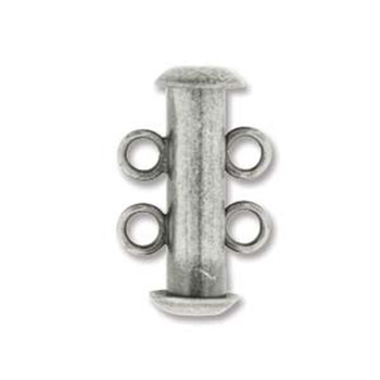 1 Clasp Multi 2 Strand Slide Lock Clasps 16mm Antique Silver Plated