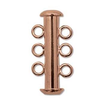 1 Clasp Multi 3 Strand Slide Lock Clasps 21mm Copper Plated Brass