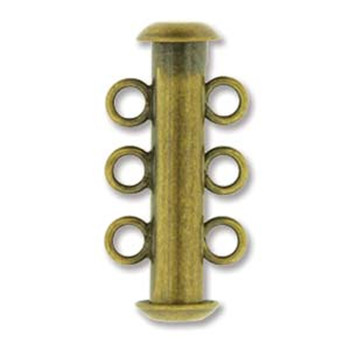 1 Clasp Multi 3 Strand Slide Lock Clasps 21mm Antique Brass Plated