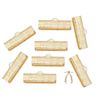 10 Ribbon crimp end, gold-plated brass, 19x6mm textured rectangle.
