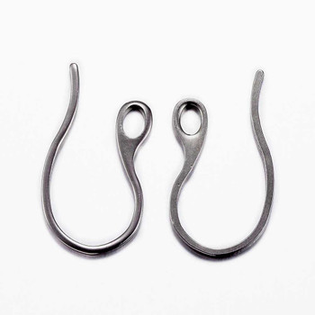 5 pair (10) 304 Stainless Steel Earring Hooks, Stainless Steel Color, 22x11.5x1mm, Hole: 2.5x3.5mm