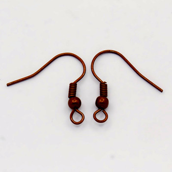 200 Earwires Basic Fishhooks Red Copper19x12mm  Ball Coil Brass Base Metal