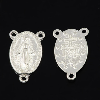 5pc Tibetan Style Oval with Virgin Holy Rosary Center Pieces Chandelier Links, Silver Plated 23x14mm, Hole: 1mm