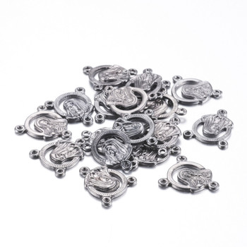 10pc Tibetan Silver Virgin Links Gunmetal about 18mm long, 16mm wide, hole: 2mm