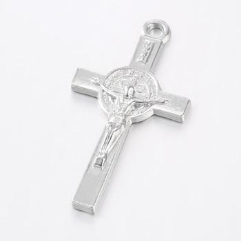 1pc Alloy Crucifix Cross Pendants  37x20mm, Hole: 2mm