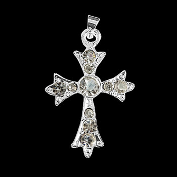 1pc Silver Plated Rhinestone Pendants Cross 23x33x4mm with Bail 3x4mm