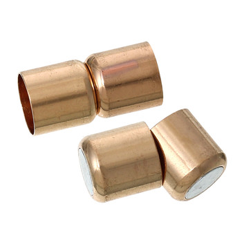 2pc Zinc Alloy Magnetic Clasps Cylinder Rose Gold Fits 9mm Cord 20x10mm