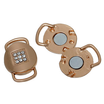 "1pc Magnetic Clasps Round Rose Gold Clear Rhinestone 25mm(1"") x 17mm( 5/8""),"