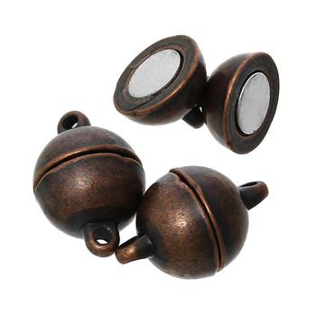 "1pc Zinc Based Alloy Magnetic Clasps Round Antique Copper 15mm( 5/8"") Dia, 5 Sets"