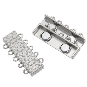 "1pc 5 Strand Magnetic Clasps Rectangle Silver Tone 36mm(1 3/8"") x 17mm( 5/8"")"